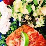 River Salmon, Arugala Salad, Smokey Potatoes
