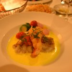 Loup de mer, saffron sauce and lobster tail