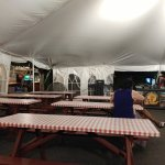 Seating area under tent - large fan for hot days