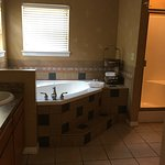 Double sink, oversized Jacuzzi tub, large walk-in shower, private commode closet