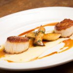 Caramelized Diver Scallops with truffle potato puree, forest mushrooms, natural jus