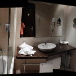 Generously sized bathroom.