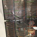 Menu card with prices