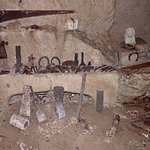 Beer Quarry Caves roof - masons and stonecutters' tools