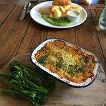 Cod & Chips with Pea Puree, plus Shepherd's Pie & Veg
