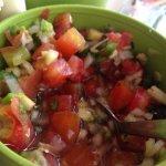 Delicious homemade pico de gallo and salsa.