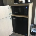Microwave and small refrigerator provided