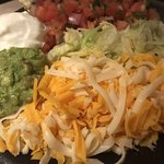 Toppings bowl for fajitas, loaded with cheese and good stuff!