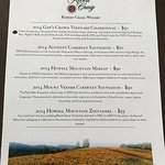 Today's tasting menu. Our tasting fees were waived with our 2 bottle purchase of the 2014 Mount
