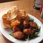 Maple whiskey glazed bacon wrapped scallops with homemade potato chips