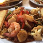 Shrimp and scallop stir fry with thai sweet and spicy sauce