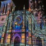 light show on church facade
