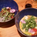 Complex flavors and a delight for the eyes ---Ocean Poke Salad, Yodelin Broth and Chicken Broth