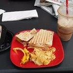 Panini sandwich, Ice coffee and cheese cake