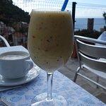 Giovanni's delicious fruit smoothie enjoyed on their terrace