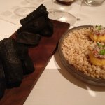 Edible charcoal and potato with steak tartare