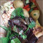 Quiche, potatoes, cous cous, salad leaves, coleslaw, waldorf salad and pomegranate dressing!