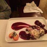 Chocolate Gateau with drunken cherry sauce
