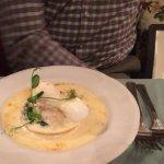 Eggs florentine with smoked mackerel