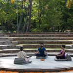 Meditation session in the amphitheatre