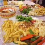 Our omelette and swordfish main meals