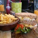 Warm Chicken and Brie with Fries and salad - delicious