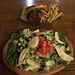 Chicken burger and chicken salad