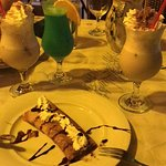 Chocolate crepe and Orgasm cocktails