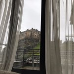 View of the castle waking up from the bed