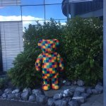 Cute little bear statue outside the hotel