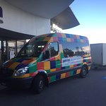 Airport shuttle. Very easy to spot at the airport pickup area when coming back to hotel!