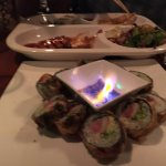 Golden dragon with flaming soy sauce