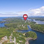 Aerial Of Ucluelet at The Francis central location to village square with Harbor view.