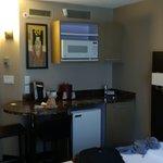 The mini-fridge and microwave area