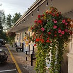 Front of hotel is pretty with lovely flower baskets
