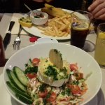 Fish and chips and goats cheese salad