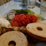 Bagel and lox platter,lox roses were so fresh and sweet you don't need the bagel!