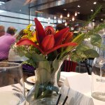 Beautiful arrangements complimented the space