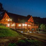 All the comforts of home in an amazing setting. Here is a view of the lodge at night.