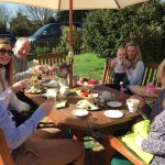 Enjoying Davenports Afternoon Tea in the garden
