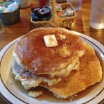 My first food photo. Yes, the pancakes really are that big, and they were almost an inch thick e