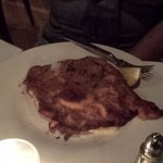 Veal with whipped potatoes and green vegetable under it. Delicious!