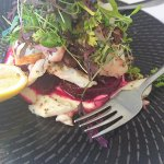 octopus with lemon skordalia and pickled beetroot
