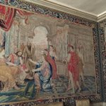 Many of the walls are covered with tapestries as was the cutom