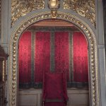 small throne room used during a visit from the Queen of England