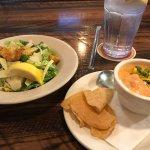 Caesar salad and tomato soup.
