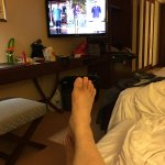 the TV can be swivel out to any direction so as not to disturb a sleeping roomate