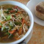 This soup and Tibetan bread were amazing - Nick's Italian Kitchen McLeod Ganj Ju