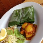 Fish wrapped in a banana leaf -'superb