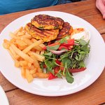 Corn Fritters and Chips.